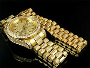 Menand039s 30ct Diamond Presidential Bracelet And Wrist Watch Combo Pack Free Cuff Link