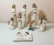Demdaco Willow Tree Lot Of 8 Figurines - Pregnant, Mother, Child, Friendship