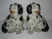 Pair Of Cute Large Staffordshire Spaniel Dog Statues Black And White 10.5 Tall