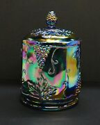 Indiana Carnival Glass Harvest Grape Blue Iridescent Cookie Car With Lid, 4.25x