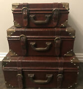 Antique Nesting Stacking Steamer Trunks Set-3 Retro Leather Wood Brass Buckles