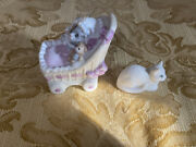 Schmid Cat Lot 2 Pieces. 1987 Kitty Cucumber Ornament Baby Kitty In Basinet. Cat