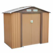 4.2and039 X 7and039 Outdoor Steel Storage Shed Lawn Equipment Tool Organizer Backyard