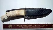 Vintage Knife Stag Eagle Head Hand Carved Handle Initialed Thc 11 Inch