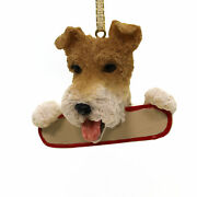 Personalized Ornaments Wire Fox Terrier Polyresin Puppy Dog Christmas 21856