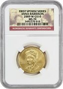 2009-w Anna Harrison 10 Ngc Ms70 - First Spouse .999 Gold