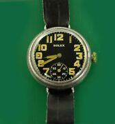 Vintage 1914 Rolex Military Sterling Trench Men's Boy's Size Watch Early Oyster
