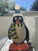 Vintage Blow Mold 28 Penguin Chilly Willyblue/yellow Scarfhat Christmas Decor