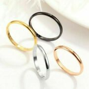 Women Stainless Steel Thin Ring Simple Stackable Ring Band Jewelry Party Gift
