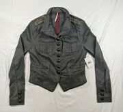 Free People Military Jacket Shrunken Officer Gold Beaded Epaulettes Womanand039s Xs