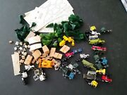 Huge Lot Of N Scale Model Train Pieces Buildings Trees Rigs Loads 18 Tractor Rig