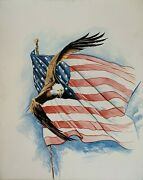 Bald Eagle And The American Flag Patriotic Original Painting 24x30 By Jeff Schaub