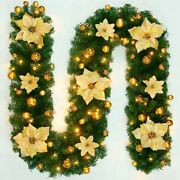 9ft Christmas Garland Artificial Wreath Pine Tree Stairs Rattan Decor Home Led