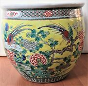 Huge Antique Chinese Famille Jaune Yellow Glaze Birds And Flowers Planter 19th C