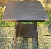 Antique Wood Parlor Table With Spindle Legs Nice Condition