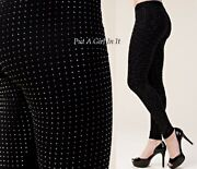 Vocal Womens Plus Size All Crystal Bling Studded Black Stretch Leggings 1x 2x 3x