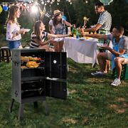 Costway Vertical Charcoal Smoker Bbq Barbecue Grill W/ Temperature Gauge Outdoor