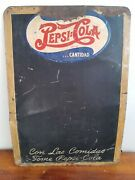 Antique Mexican Soda Pepsi Cola Doube Dot Metal Menu Chalkboard Sign From 40and039s