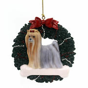 Personalized Ornaments Yorkshire Terrier Wreath Resin Dog Christmas Bone Or272
