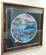 Rare Robert Wyland 1992 Whale Waters Limited Edition Signed Print Framed 39x39