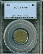 1872 Indian Cent Pcgs Xf40