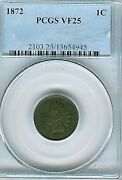 1872 Indian Cent Pcgs Vf25