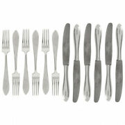 Antique Silver 875 12 Piece Flatware Set Forks And Knives Beautiful Latvia Art