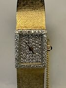 Omega Vintage Ladies Diamond Dial And Solid 14k Gold Mesh Band Runs Great