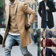 Menand039s Casual Woolen Overcoat Long Sleeve Coat Male Autumn Trench Jacket Outwear