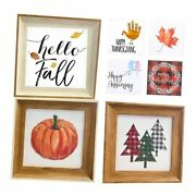Farmhouse Wall Decor Wooden Signs With 18 Interchangeable Sayings For Fall