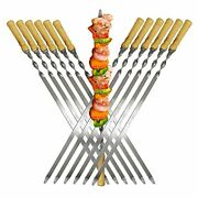 22and039and039large Size Kabob Skewers Flat Metal Bbq Barbecue Skewer Wooden Handle