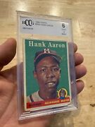 Hank Aaron Bccg 6 Antique 1958 Topps Braves Baseball Collector Card Man Cave