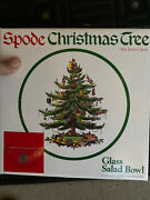 Spode Christmas Tree 9 Glass Salad Fruit Serving Bowl Gold Trim In Box