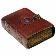 Large Leather Journal With Semi Precious Stone - Lock Closure, 240 Pages