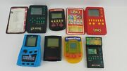 Vintage Lot 7 Hand Held Electronic Games Tested Uno Yahtzee See List O2