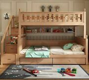 Children Bunk Bed Full Solid Wood Multifunctional Bedroom Kids Bed With Cabinet