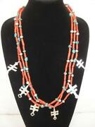 Federico 3 Strand Red Coral 6 Pueblo Dragonfly Crosses Sterling Silver Necklace