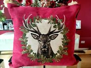 Hines Of Oxford Oversized Stag's Head Red Luxury Textured Cotton Chenille Pillow