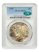 1922 1 Pcgs/cac Ms63 - Peace Silver Dollar - Beautifully Toned Obverse