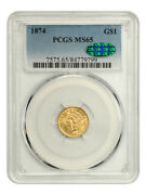 1874 G1 Pcgs/cac Ms65 - Gem Type Coin - 1 Gold Coin - Gem Type Coin
