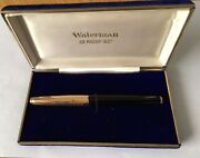 Vintage 18k Solid Gold Waterman Fountain Pen With 18k Gold Nib - Boxed