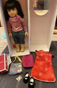 American Girl Doll Ivy Original Outfit+chinese New Year's Dress+bag+beret+coin