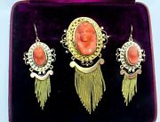 Antique Victorian 1850s14k Gold Cameo Coral Fringe Earrings Brooch Pendant 26.0g
