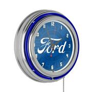 3 In. X 14 In. Classic Ford Genuine Parts Chrome Double Rung Neon Wall Clock