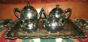 Awesome Pairpoint Mfg.co.quadruple Silver Plate Victorian 315 4 Pc.tea Set