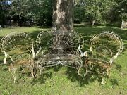 Vintage Shabby Garden Twisted Wire Ornate Metal Peacock Rockers And Loveseat