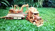 New Wooden Excavator Diecast Engineering Vehicle Model Toys Truck Car Gift 2021