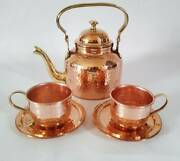 Pure Copper Hammered Tea Kettle Pot With Serving Cups And Saucer