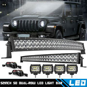 Roof Curved 52and039and039 Led Light Bar +32 Bumper Lights Combo Kit For 06-10 Hummer H3