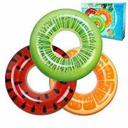 Fruit Patterns Kids' Inflatable Swimming Party Vinyl Pool Ring Floats 3 Floats